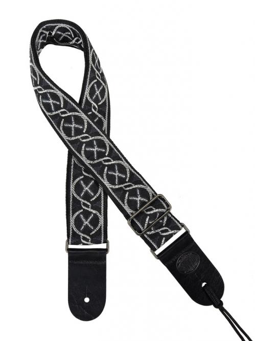 Gaucho GST-180-WH  white on black pasek do gitary