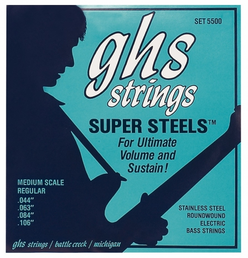 GHS Super Steels struny do gitary basowej, 5-str. Regular, .044-.126, Medium Scale