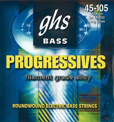 GHS Progressives struny do gitary basowej, 4-str. Medium, .045-.105