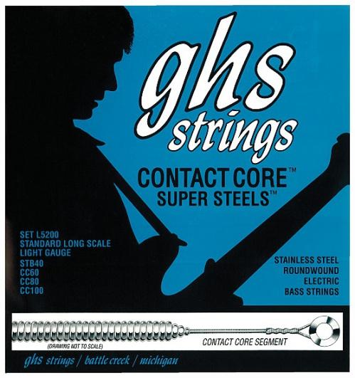 GHS Contact Core Super Steels struny do gitary basowej, 4-str. Light, .040-.100