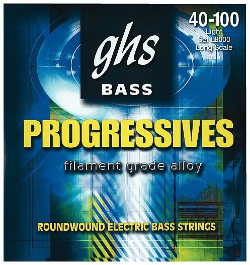 GHS Progressives struny do gitary basowej, 4-str. Light, .040-.100