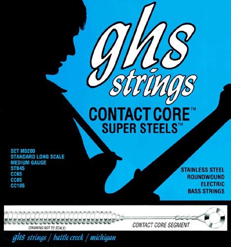GHS Contact Core Super Steels struny do gitary basowej, 4-str. Medium, .045-.105