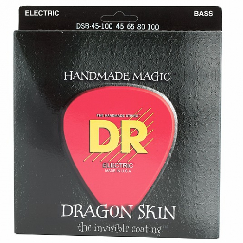 DR DRAGON SKIN - struny do gitary basowej, 4-String, Coated, Medium Light, .045-.100