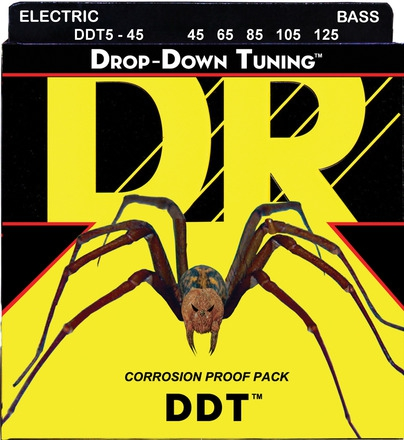 DR DROP-DOWN TUNING - struny do gitary basowej, 5-String, Medium, .045-.125