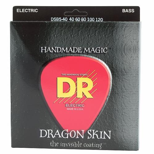 DR DRAGON SKIN - struny do gitary basowej, 5-String, Coated, Light, .040-.120