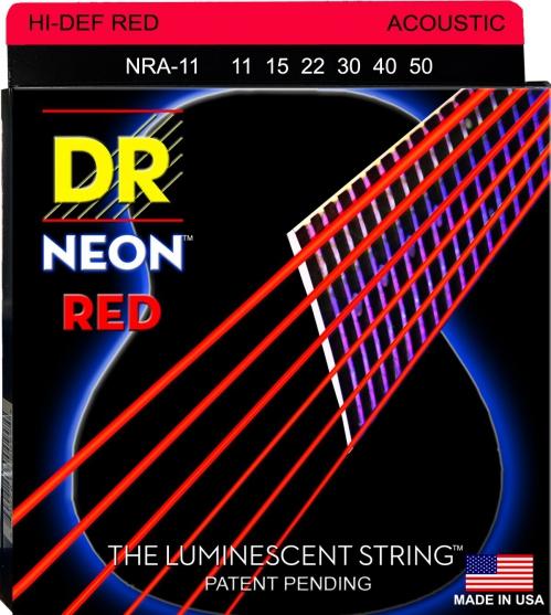 DR NEON Hi-Def Red - struny do gitary akustycznej, Coated, Medium Light .011-.050