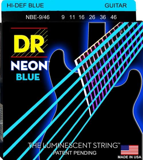 DR NEON Hi-Def Blue - struny do gitary elektrycznej, Heavy & Light, .009-.046