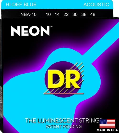 DR NEON Hi-Def Blue ″ struny do gitary akustycznej, Coated, Light, .010-.048