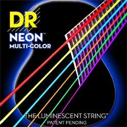 DR NEON Hi-Def Multi-Color - struny do gitary akustycznej, Coated, Medium, .012-.054
