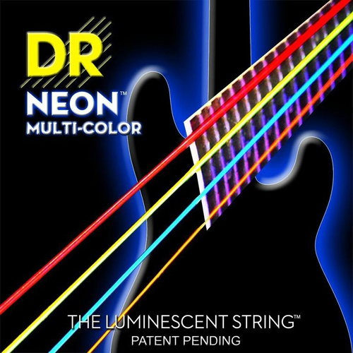 DR NEON Hi-Def Multi-Color - struny do gitary basowej, 4-String, Medium, .045-.105