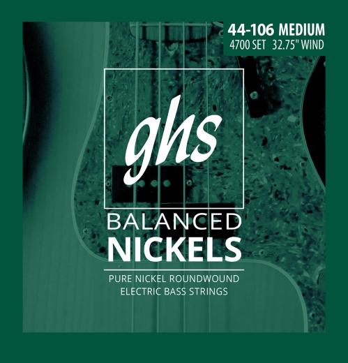 GHS Balanced Nickels - struny do gitary basowej, Medium, .044-.106, Short Scale