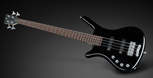 RockBass Corvette Basic 4-String, Black Solid High Polish, Active, Fretted, Lefthand, Medium Scale gitara basowa