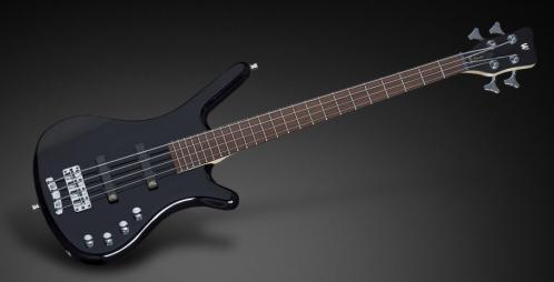 RockBass Corvette Basic 4-String, Black Solid High Polish, Active, Fretted, Short Scale gitara basowa