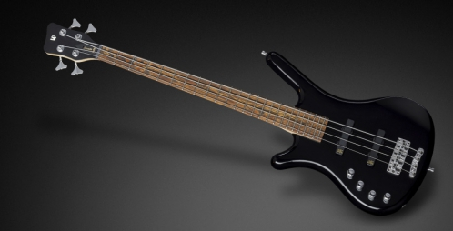 RockBass Corvette Basic 4-String, Black Solid High Polish, Active, Fretted, Lefthand, Short Scale gitara basowa