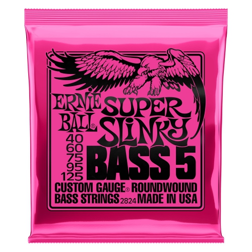 Ernie Ball 2824 NC 5′s Super Slinky Bass struny do gitary basowej 40-125