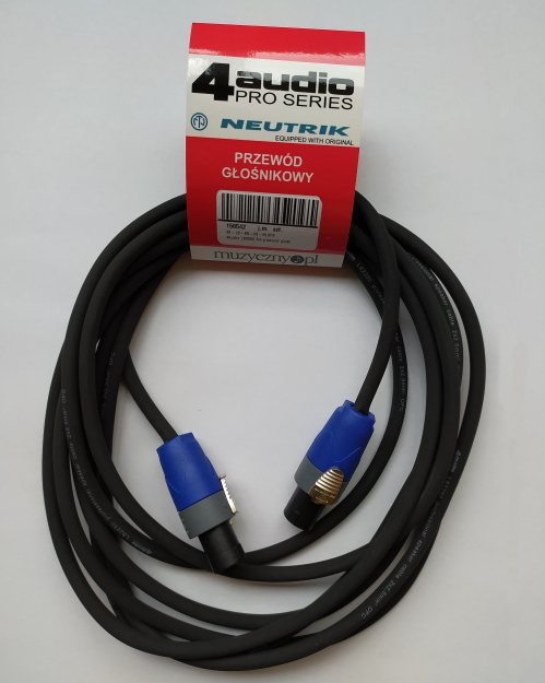 4Audio LS2400 1m przewód głośnikowy 2x4mm ze speakonem NL4FX