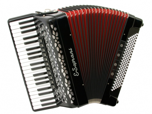 E.Soprani 124 KC  41/4/11+M 120/5/4 Musette akordeon (czarny, czerwony miech)