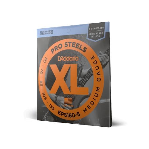 D'Addario EPS 160/5 Pro Steels struny do gitary basowej pięciostrunowej 50-135