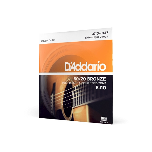 D′Addario EJ-10 struny do gitary akustycznej 80/20 bronze 10-47
