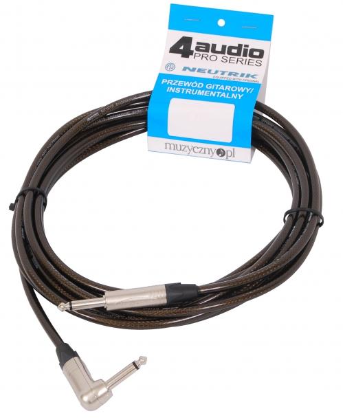 4Audio GT1075 10m przewód gitarowy Jack kątowy Jack