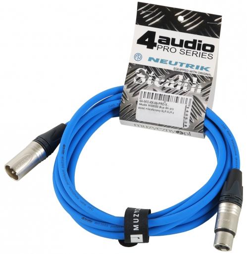4Audio MIC PRO 3m Blue przewód mikrofonowy XLR-F - XLR-M z opaską (niebieski) Neutrik