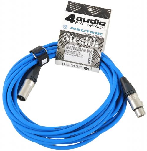 4Audio MIC PRO 6m Blue przewód mikrofonowy XLR-F - XLR-M z opaską (niebieski) Neutrik