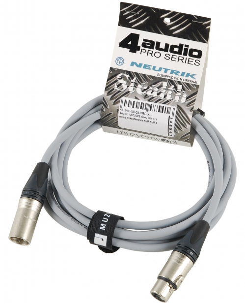 4Audio MIC PRO 3m Grey przewód mikrofonowy XLR-F - XLR-M z opaską (szary) Neutrik