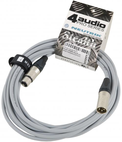 4Audio MIC PRO 6m Grey przewód mikrofonowy XLR-F - XLR-M z opaską (szary) Neutrik