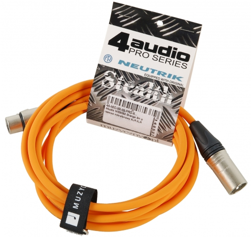 4Audio MIC PRO 3m Orange przewód mikrofonowy XLR-F - XLR-M z opaską (pomarańczowy) Neutrik