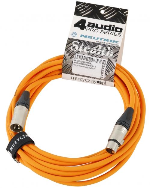 4Audio MIC PRO 6m Orange przewód mikrofonowy XLR-F - XLR-M z opaską (pomarańczowy) Neutrik