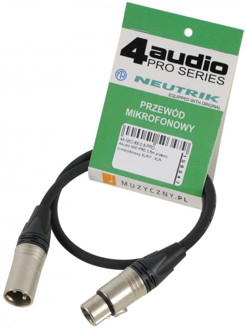4Audio MIC PRO 0,5m przewód mikrofonowy XLR-F - XLR-M Neutrik