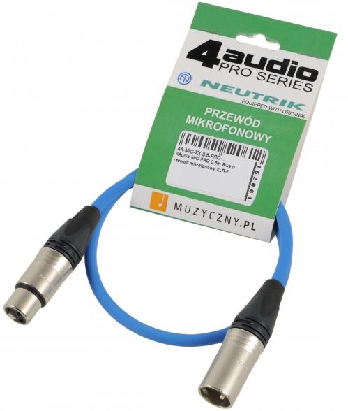 4Audio MIC PRO 0,5m Blue przewód mikrofonowy XLR-F - XLR-M (niebieski) Neutrik