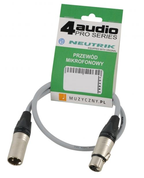 4Audio MIC PRO 0,5m Grey przewód mikrofonowy XLR-F - XLR-M (szary) Neutrik