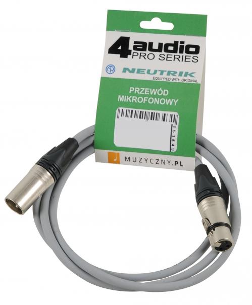 4Audio MIC PRO 1,5m Grey przewód mikrofonowy XLR-F - XLR-M (szary) Neutrik