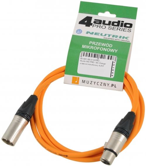 4Audio MIC PRO 1,5m Orange przewód mikrofonowy XLR-F - XLR-M (pomarańczowy) Neutrik