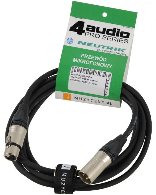 4Audio MIC PRO 3m przewód mikrofonowy XLR-F - XLR-M z opaską, Neutrik