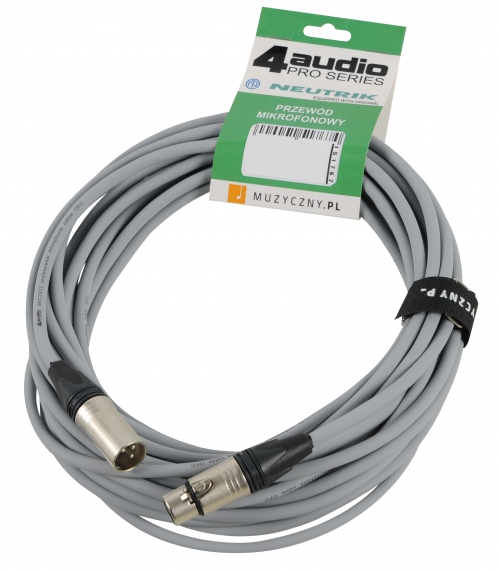 4Audio MIC PRO 10m Grey przewód mikrofonowy XLR-F - XLR-M z opaską (szary) Neutrik