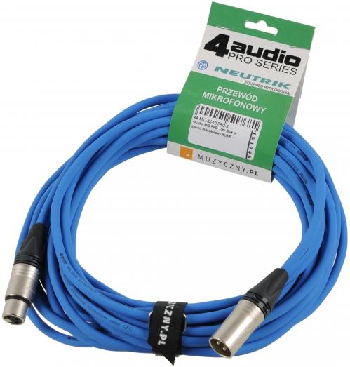 4Audio MIC PRO 10m Blue przewód mikrofonowy XLR-F - XLR-M z opaską (niebieski) Neutrik