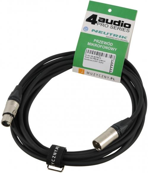 4Audio MIC PRO 5m przewód mikrofonowy XLR-F - XLR-M z opaską, Neutrik