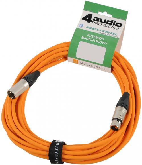 4Audio MIC PRO 15m Orange przewód mikrofonowy XLR-F - XLR-M z opaską (pomarańczowy) Neutrik