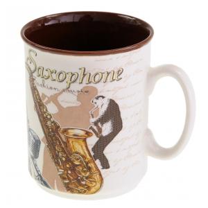 Zebra Music Kubek porcelanowy 300ml z motywem saksofonu