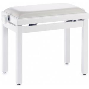 Stagg PB39 ława do pianina, biały mat, siedzisko biały skaj