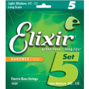 Elixir 14207 NW struny do gitary basowej 5-str.45-135