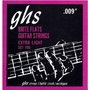 GHS Brite Flats struny do gitary elektrycznej, Extra Light, .009-.042