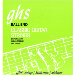 GHS Silver Alloy struny do gitary klasycznej, Ball End, Silver Plated Copper Basses, High Tension