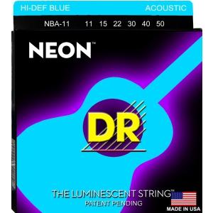 DR NEON Hi-Def Blue - struny do gitary akustycznej, Coated, Medium Light .011-.050