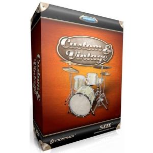 Toontrack SDX Custom & Vintage  biblioteka brzmień [Superior Drummer], od klasycznych bębnów do instrumentów produkcji współczesnych [Johnny Carviotto], zarejestrowane w studiu 2Khz na konsolecie EMI TG,zagrał Chris Whitten, produkcja Peter Henderson