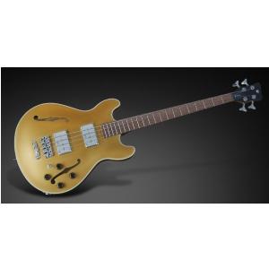 RockBass Star Bass 4-String, Solid Gold Metallic High Polish, Fretted - Medium Scale gitara basowa