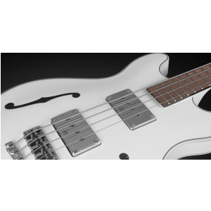 RockBass Star Bass 4-String, Solid Creme White High Polish, Fretted - Medium Scale gitara basowa