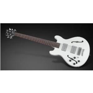 RockBass Star Bass 5-str. Solid Creme White High Polish, Fretted - Long Scale - Lefthand gitara basowa